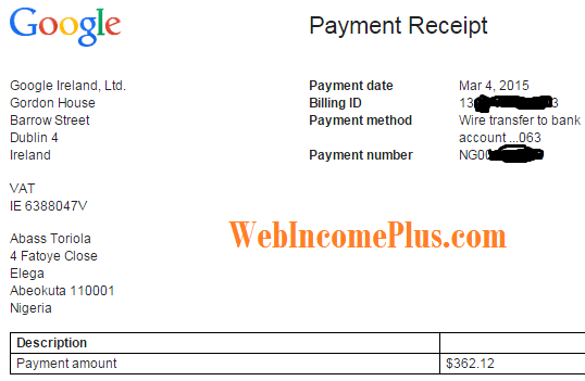 Receipt of second payment ($362 for January 2015)