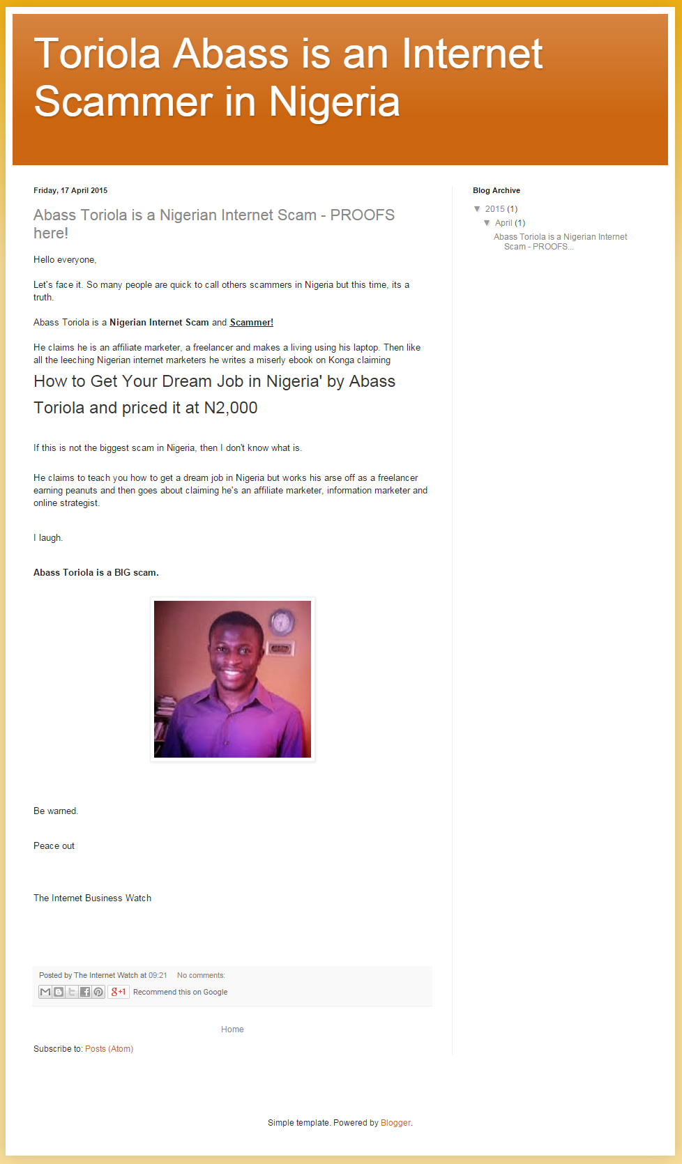 Toriola Abass is an Internet Scammer in Nigeria (1)